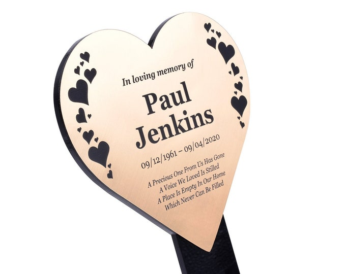 Personalised Metallic Heart Memorial Plaque Stake - HEARTS DESIGN, Grave Marker, Outdoor, Garden, Waterproof (Silver / Gold / Copper)