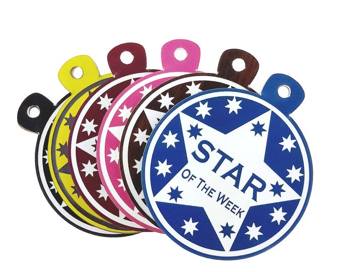 Choice of Colours Personalised Star of the Week 7 cm Diameter Multi-use Award Medal