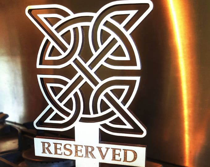 Reserved Sign for Restaurants, Hotels and Bars. Wooden, Stunning Celtic Design