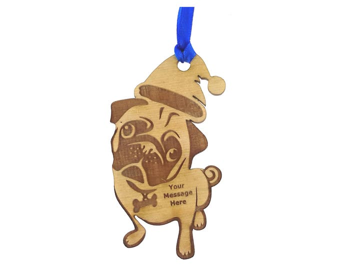 Personalised Wooden Engraved Pug Christmas Tree Hanging Decoration