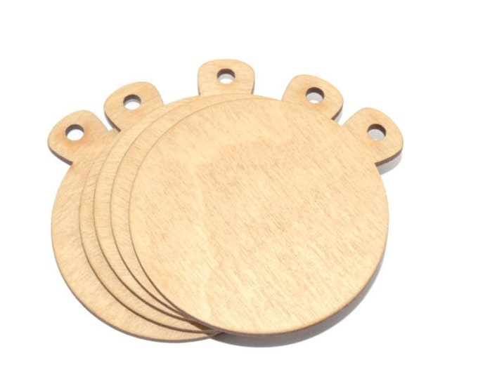 Pack of 20 Blank Wooden Medals - Art and Craft Shapes, supplied with coloured Ribbon (6 - 7cm Diameter)