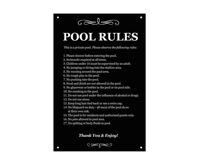 Swimming Pool Rules - Outdoor Sign engraved with a list of health and safety points about using the pool. Ideal for holiday accommodation