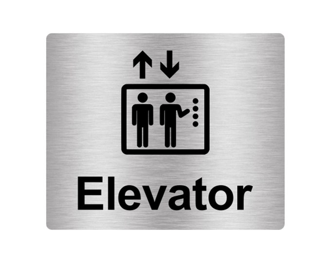 Elevator Sign Adhesive Sticker Notice, Metallic Silver Engraved Black with Universal Icon Symbol and Text (Size 12cm x 10cm)