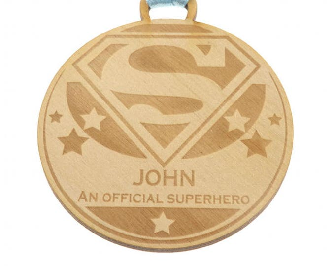 Personalised 7 cm Diameter Multi-use Award Medal Made from 3mm Plywood - other materials available