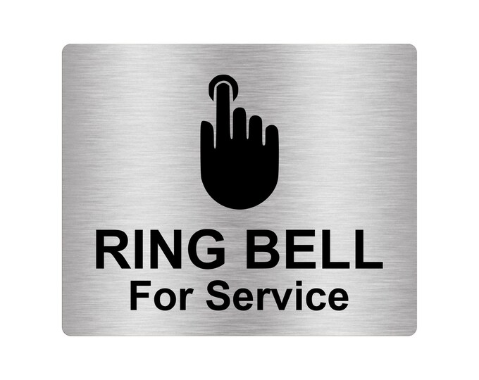 Ring Bell For Service Sign Adhesive Sticker Notice, SILVER / GOLD / BLACK engraved with Universal Icon Symbol and Text (Size 12cm x 10cm)