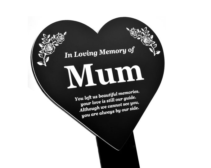 MUM Heart Memorial Remembrance Plaque Stake - Black and White Acrylic, Waterproof, Outdoor, Grave Marker, Tribute, Plant Marker