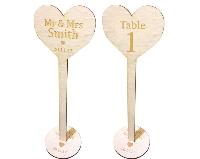 Personalised Table Numbers, Wood, Free Standing - Wedding Decoration