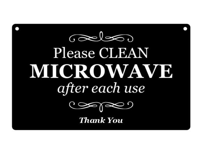 Please Clean Microwave After Use Kitchen Engraved Sign for kitchen - Black and White / Ash Veneer / Plywood