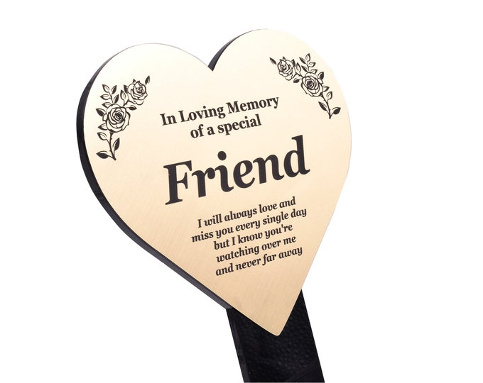 Special Friend Memorial Remembrance Plaque Stake, HEART SHAPE - Gold/Silver/Copper, Waterproof, Outdoor, Grave Marker, Tribute, Plant Marker