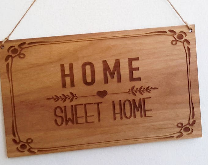Origin Home Sweet Home Hanging Wall Plaque Solid Walnut Handmade and Finished with Danish Oil Gorgeous Gift or Home Decoration