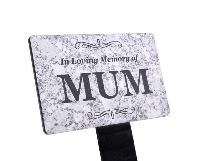 In Loving Memory of MUM Memorial - Granite Stone Effect Plaque Stake, Grave Marker, Garden, Outdoor, Decorative Tribute