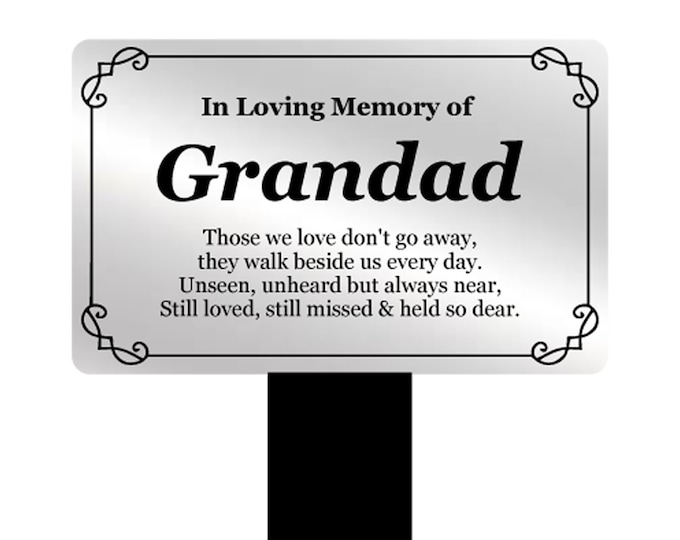 Grandad Memorial Remembrance Plaque Stake - Silver and Black Acrylic, Waterproof, Outdoor, Grave Marker, Tribute, Plant Marker