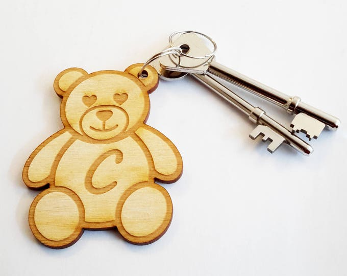 Personalised Wooden Teddy Bear Keyring - Makes an ideal gift for your wife, girlfriend or anyone special who loves teddy bears!