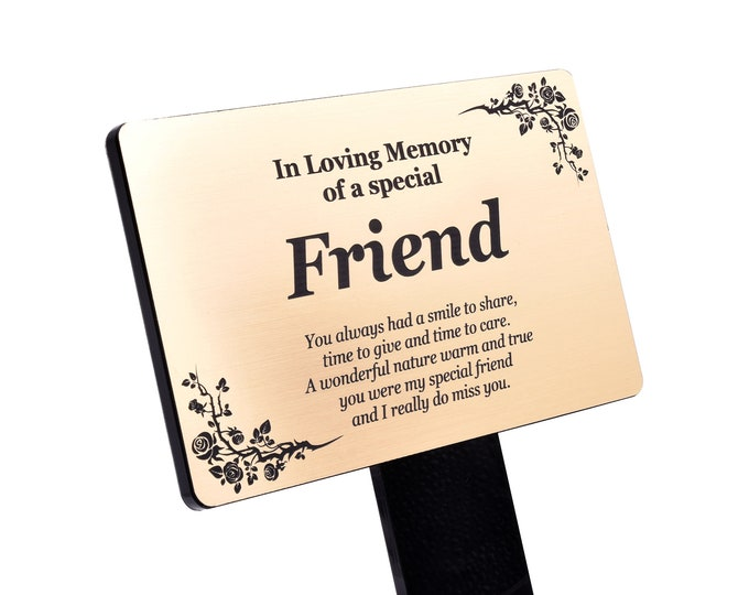 Special Friend Memorial Remembrance Plaque Stake -  Gold/Silver/Copper Waterproof, Outdoor, Grave Marker, Tribute, Plant Marker