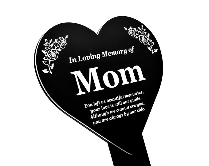 MOM Heart Memorial Remembrance Plaque Stake - Black and White Acrylic, Waterproof, Outdoor, Grave Marker, Tribute, Plant Marker