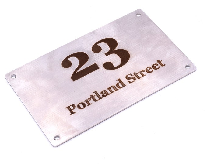 Personalised Engraved Stainless Steel Address Plaque, Large Size: 145 mm x 90 mm x 3 mm, Easy to Fix