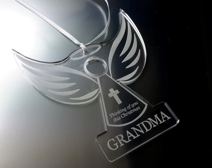 Remembrance Angel 'GRANDMA'  - Christmas Tree Decoration, Memory Bauble, Engraved, Clear Acrylic