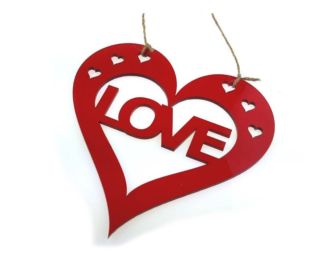 Valentines or Anniversary, Love Red Heart Small Hanging Wall Plaque - Gift or present for him or her