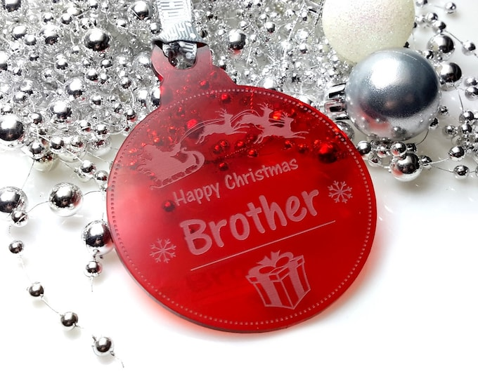 Happy Christmas Brother - Christmas Tree, Bauble, Decoration, Gift, Keepsake,