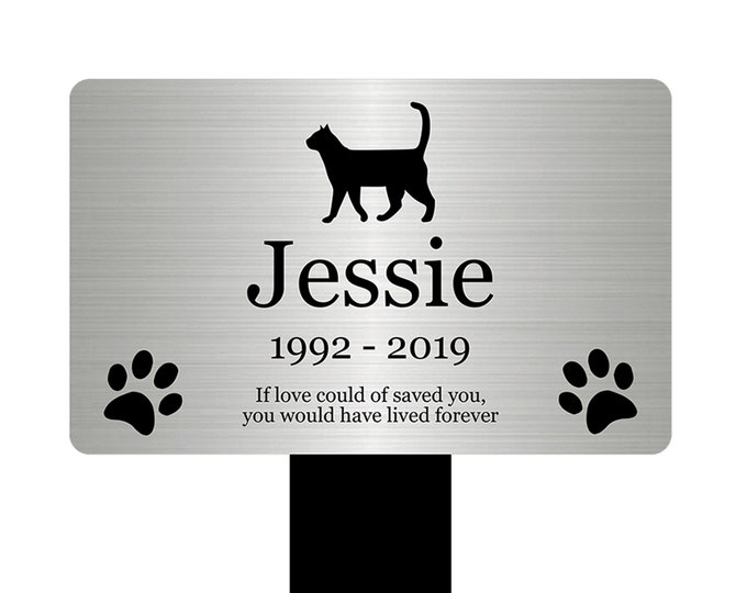 Large Personalised Pet Cat Memorial Stake - Engraved Plaque, Waterproof, Grave Marker, Outdoor, Garden, (Silver / Gold / Copper / Black)