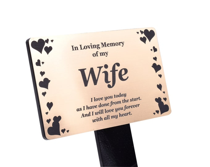 Wife Memorial Remembrance Plaque Stake, Hearts Design -  Gold/Silver/Copper Waterproof, Outdoor, Grave Marker, Tribute, Plant Marker