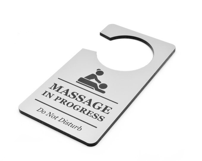 Massage In Progress, Do Not Disturb - Room Door Sign - for Beauty Salons, Spas, Massage Parlours, Treatment Rooms Silver or Wood