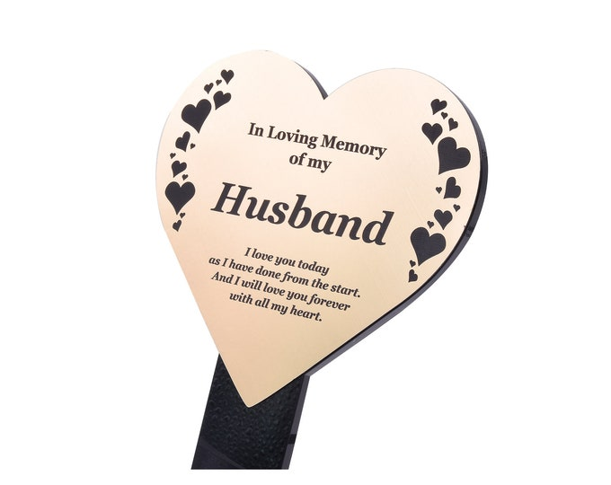 Husband Memorial Remembrance Plaque Stake, HEART SHAPE -  Gold / Silver / Copper, Waterproof, Outdoor, Grave Marker, Tribute, Plant Marker