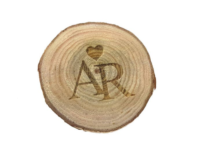 Wedding Engraved Favours / Charms - Rustic Wood (Pack of 10) with engraved initials