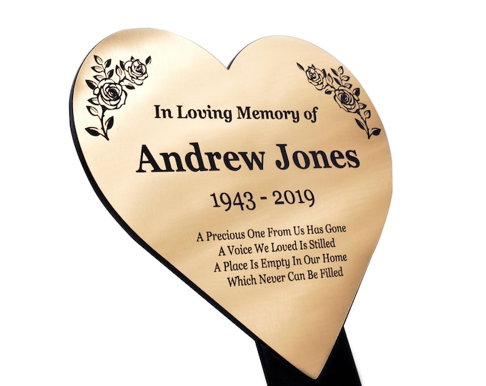 Personalised Metallic Heart Memorial Plaque Stake - Grave Marker Outdoor Garden Waterproof available in Silver / Gold / Copper