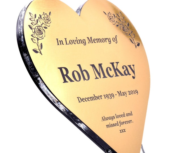 New Personalized Floating Heart Memorial Stake Ideal as a Commemorative Plant or Grave Marker