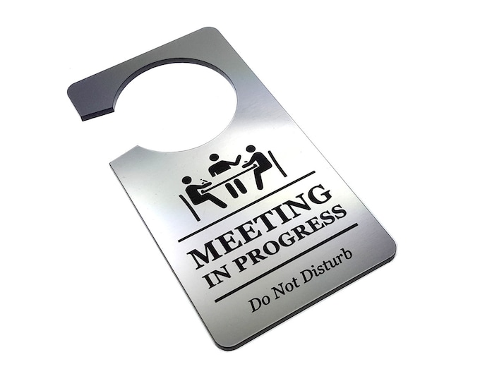 Meeting In Progress, Do Not Disturb - Generic Silver, Room Door Sign - for Business, Office, Corporate, Meeting Rooms, Home Office, Hotel
