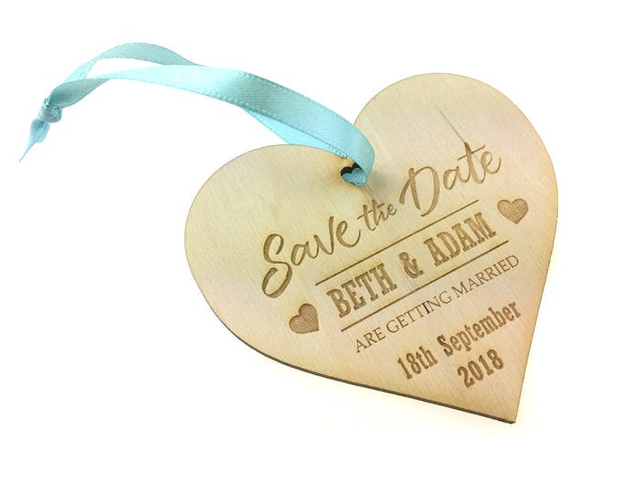 Save the Date - Set of 50 Personalised Wooden Invitations for Weddings