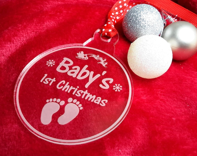 Baby's 1st Christmas Bauble - Clear Acrylic, Engraved, Boy or Girl, Tree Decoration, Gift or Keepsake