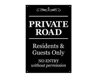 PRIVATE ROAD KEEP OUT Aluminum Sign 8 X 12  Black /& White