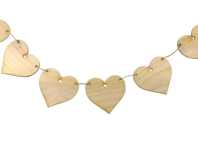 Wooden, Heart, Bunting - Laser Cut Love Hearts, Set of 10, Supplied with Twine