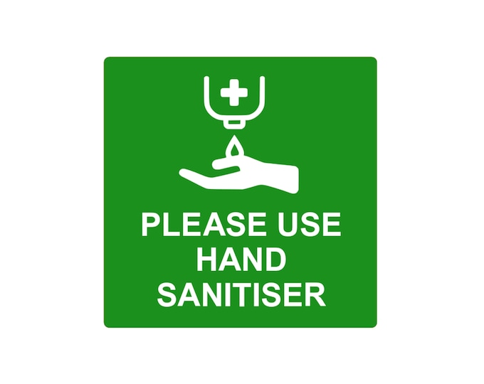 Please Use Hand Sanitiser - Sign, Notice, 3mm Green and White Acrylic Plastic, supplied with adhesive strips