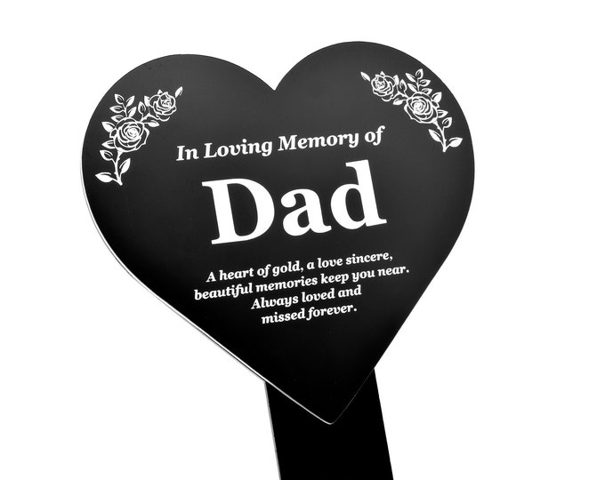 DAD Heart Memorial Remembrance Plaque Stake - Black and White Acrylic, Waterproof, Outdoor, Grave Marker, Tribute, Plant Marker