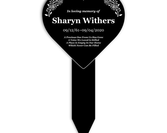 Personalised Heart Memorial Remembrance Plaque Stake - Black and White Acrylic, Waterproof, Outdoor, Grave Marker, Tribute, Plant Marker