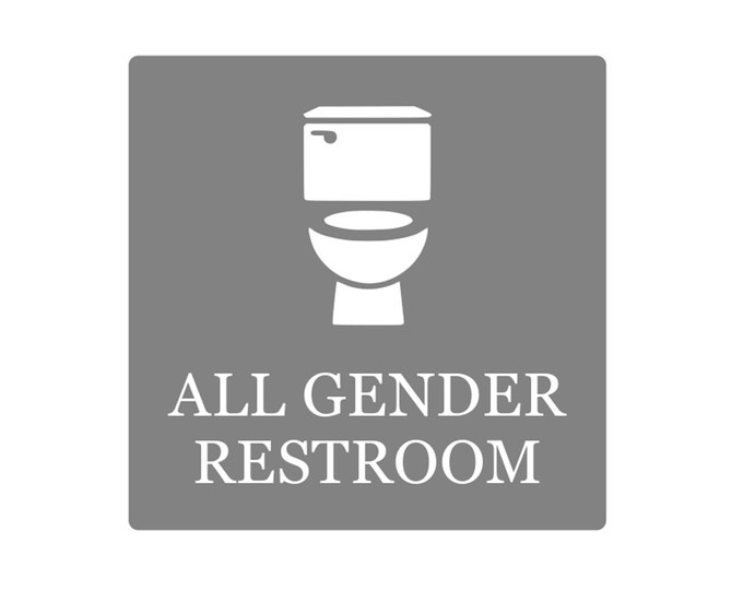 All Gender Restroom Adhesive Sign Notice - Grey and White / Black and White, 1.6mm waterproof acrylic