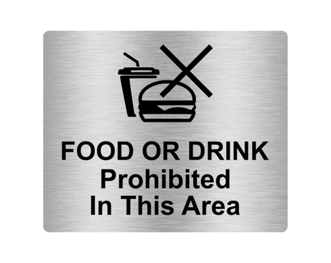 Food Or Drink Prohibited In This Area Sign Adhesive Sticker Notice Sticker Notice with Universal Icon Symbol and Text (Size 12cm x 10cm)