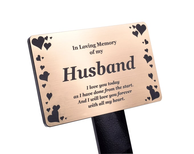 Husband Memorial Remembrance Plaque Stake, Hearts Design -  Gold/Silver/Copper Waterproof, Outdoor, Grave Marker, Tribute, Plant Marker