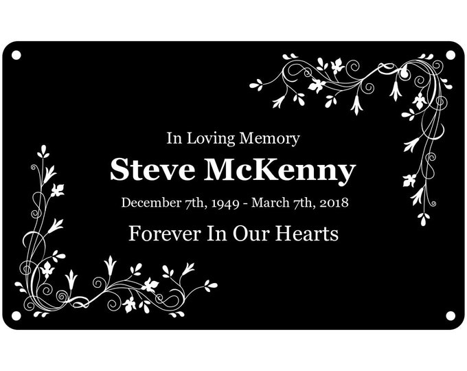 Personalised Black Memorial Plaque With White Graphics and Lettering - Outdoor Garden Waterproof and Weatherproof