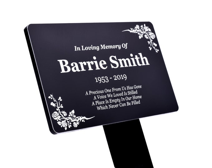 Personalised Black and White Memorial Plaque Stake - Grave Marker, Outdoor Garden Waterproof