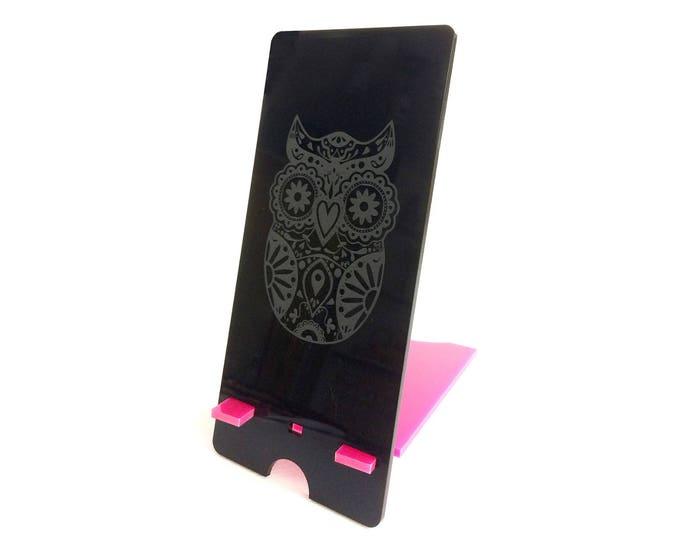 Mobile Phone Stand Holder - Owl Engraved Design (Add Personalisation Option)