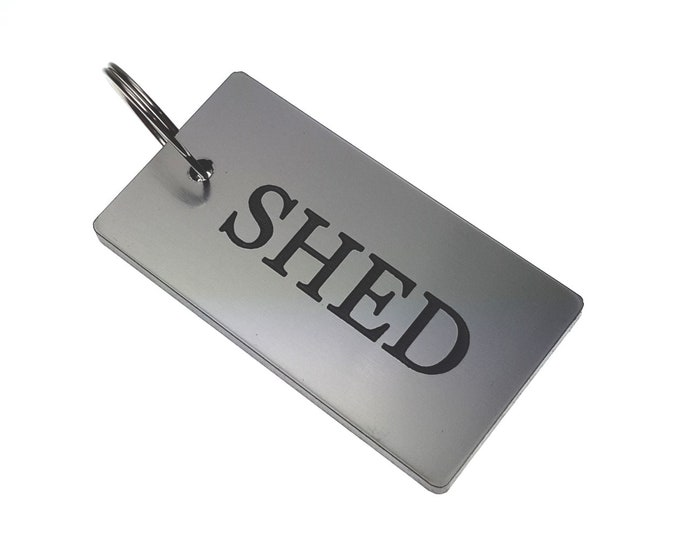 SHED Key Ring - Silver Metallic Acrylic Plastic, House & Home,