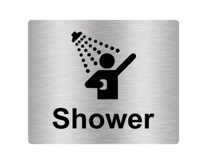 Shower Sign Adhesive Sticker Notice, SILVER / GOLD / BLUE engarved with text and Universal Icon Symbol (Size 12cm x 10cm)