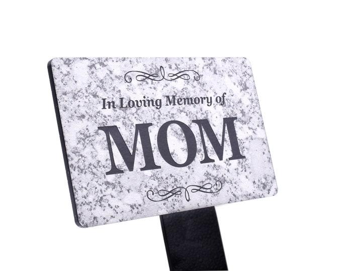 In Loving Memory of MOM Memorial - Granite Stone Effect Plaque Stake, Grave Marker, Garden, Outdoor, Decorative Tribute