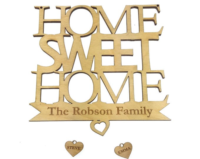 Personalised, Home Sweet Home, Hanging Wall Plaque - Handmade Gorgeous Gift Keepsake or Home Decoration