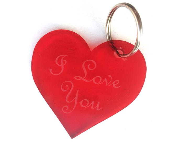 Valentine's Day Gift, Anniversary Gift, Loved One, Keepsake - Engraved, Key Ring, 'I Love You', Red Heart