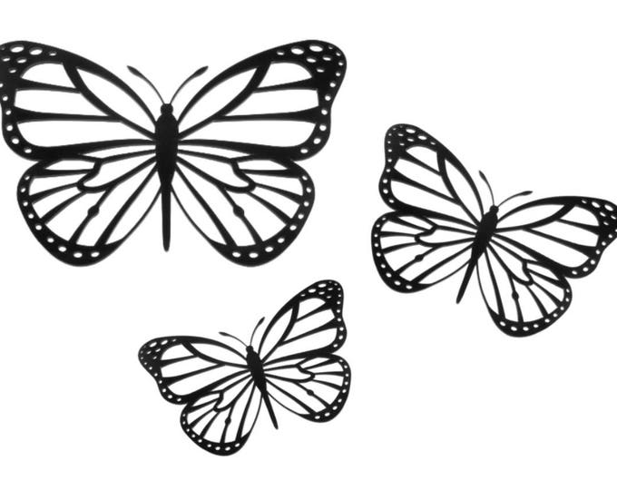 Wedding Decoration Butterflies - Wall Art Hanging (set of 3) Black, Coloured or Wood